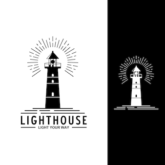 Lighthouse logo in white and black background
