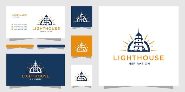 Логотип маяка с компасом и шаблоном визитной карточки