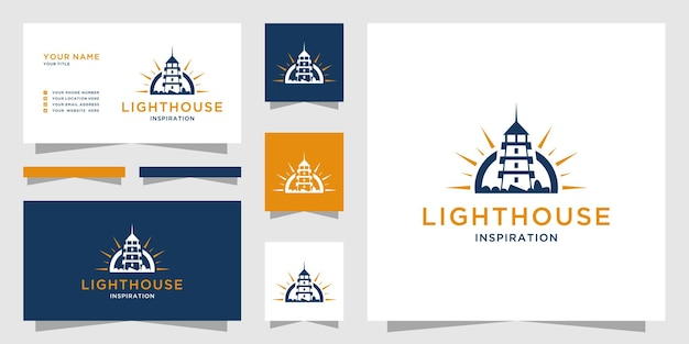 Lighthouse logo with compass design and business card template