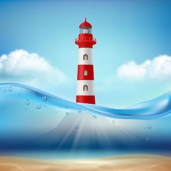 Lighthouse. marine or ocean illustration, water wave and light beam lamp for safe ship navigation vector realistic sea landscape