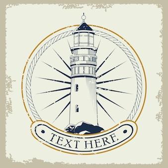 Lighthouse nautical gray emblem icon  illustration