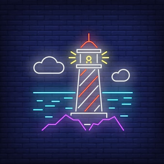 Lighthouse neon sign. tower, sea, clouds on brick wall . glowing banner or billboard elements.