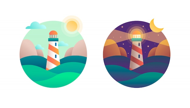 Lighthouse in the ocean. day and night moon and sun