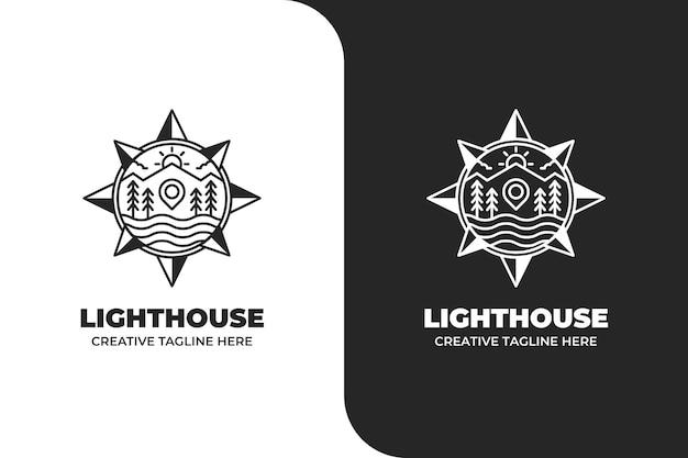 Lighthouse ocean sail navigation logo