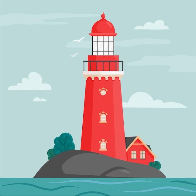 フラットスタイルの島の灯台