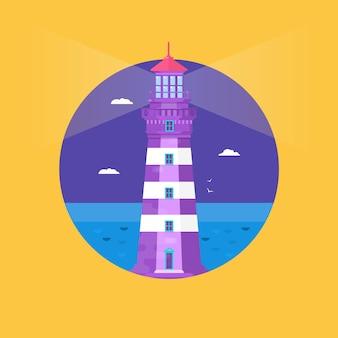 Маяк на океан или морской пляж мультфильм фон плоские векторные иллюстрации. маяк на берегу моря