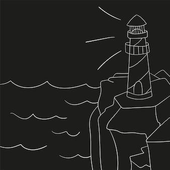 Маяк на берегу океана или моря мультфильм фон векторные иллюстрации. маяк на берегу моря, структура маяка на берегу