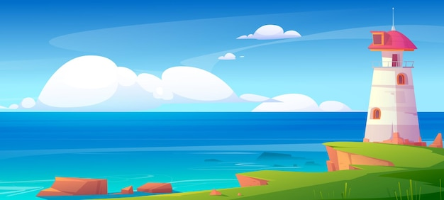 Маяк на берегу моря, здание маяка в природном ландшафте