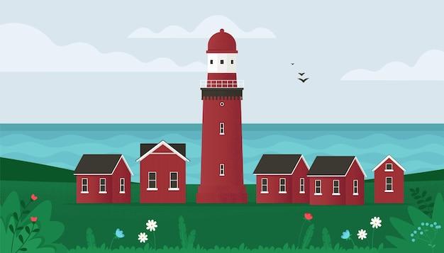 Маяк на берегу моря с травой и птицами, летающими над морем, иллюстрация в плоском стиле