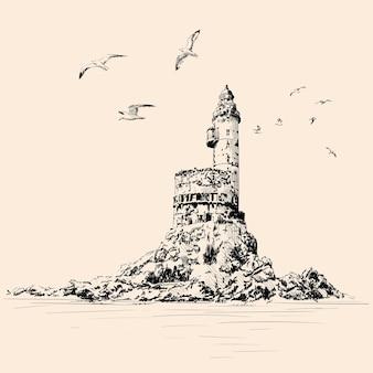 바위 해변에 등대. 갈매기가 절벽 위로 날아갑니다. 베이지 색 배경에 그리기 손입니다.