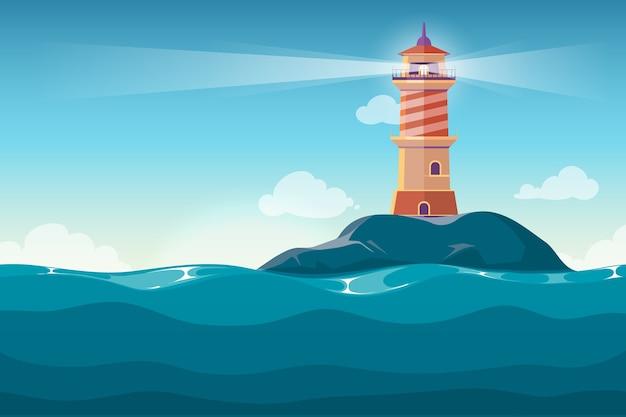 Lighthouse on rock stones island cartoon vector background