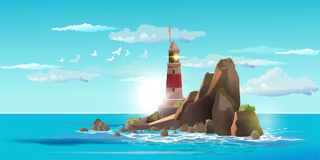 Lighthouse on rock stones island summer landscape.