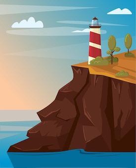 Lighthouse on the rock with sea. landscape