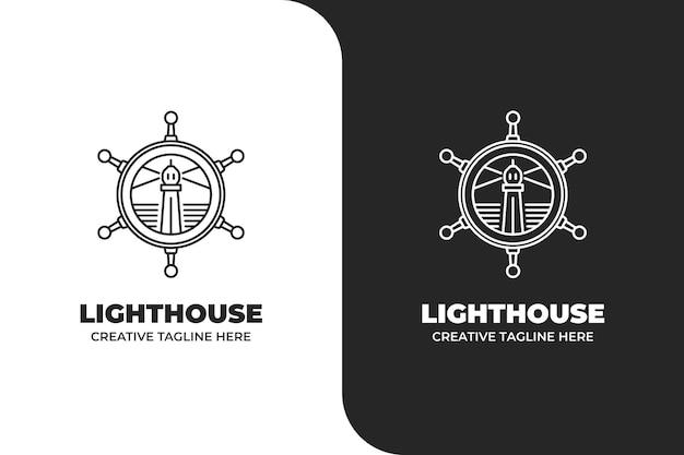 Lighthouse sailor navigation logo