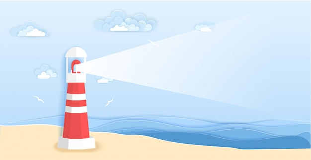 Lighthouse on sea beach in paper art style.