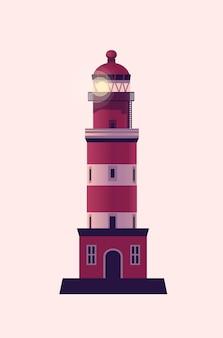Маяк, морской маяк. векторная иллюстрация в плоском мультяшном стиле. Premium векторы