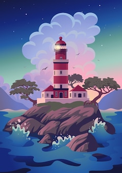 Lighthouse - sea landscape with beacon on the cliff.