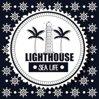 Lighthouse sea life background steer