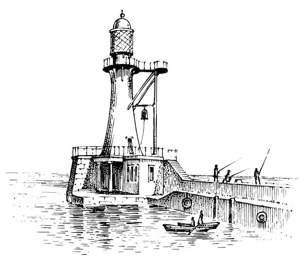 Lighthouse and sea. marine sketch, nautical journey and seascape.