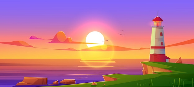 Faro in riva al mare al tramonto
