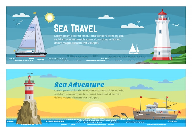 Lighthouse sea travel banners set  illustration of blue ocean, island landscape. sea with seagull, sky and lighthouse, navigation beacon building.