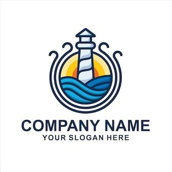등대 바다 독특한 로고