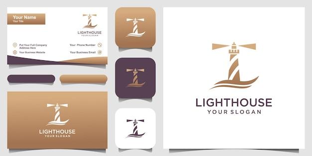 Lighthouse searchlight beacon tower island simple line art style logo design template