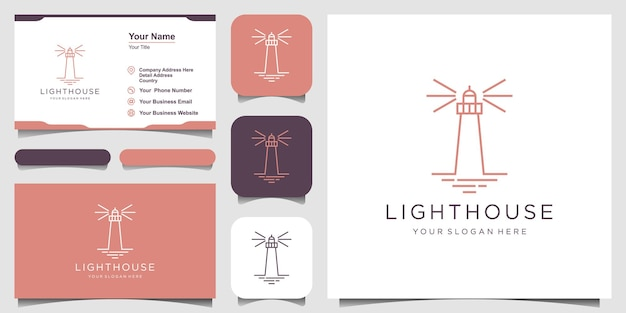 Lighthouse searchlight beacon tower island simple line art style logo design.