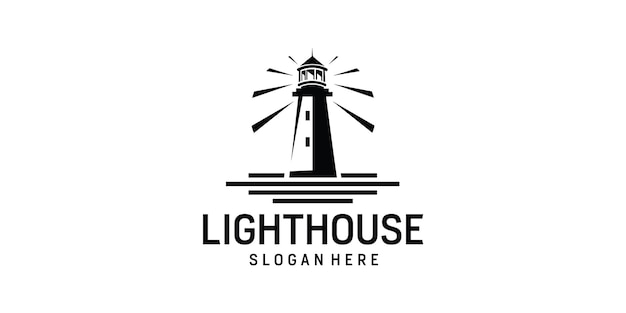 Lighthouse searchlight beacon tower island simple logo design