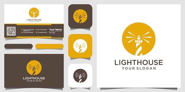 Lighthouse searchlight tower island with circle concept simple line art style logo design.