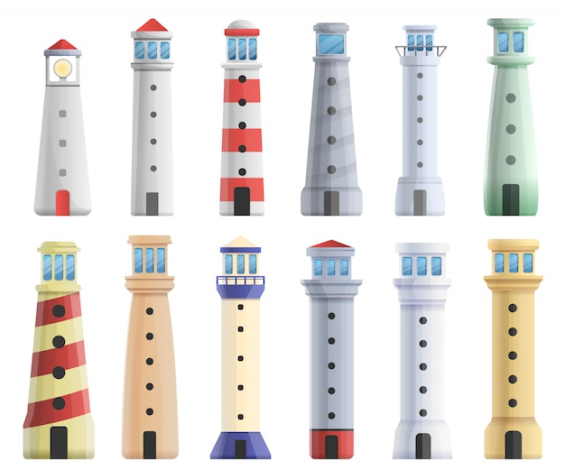 Lighthouse set, cartoon style