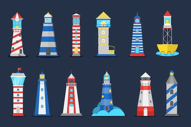 Lighthouse set. collection of beacon for ship navigation