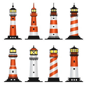 Lighthouse set flat style on white background.