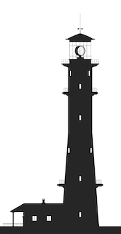 Lighthouse. silhouette of large lighthouse isolated