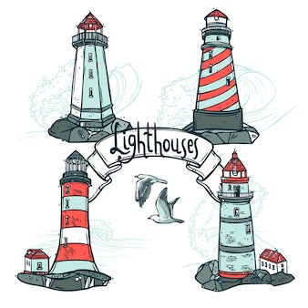 Lighthouse sketch set