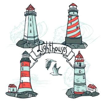 Набор эскизов маяков