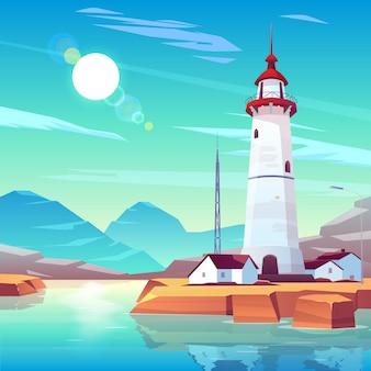 집과 흐린 하늘에 빛나는 태양 아래 tv 타워에 둘러싸인 바위 해변에 등 대 서.