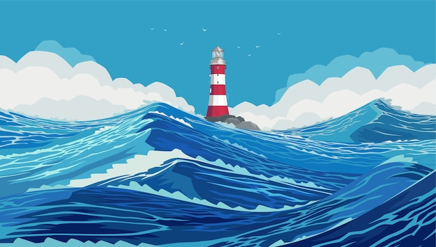 Lighthouse on a stone bank in a harsh ocean. wavy and beautiful sea. the pacific ocean is raging. large and strong blue waves. raging ocean waves in the blue sea.
