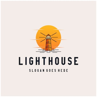 Lighthouse sunset logo design icon  illustration