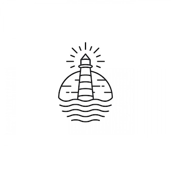 Lighthouse tower island with searching light logo