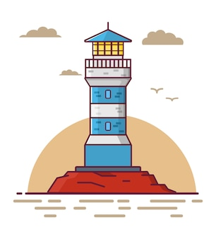 Lighthouse tower on a rock
