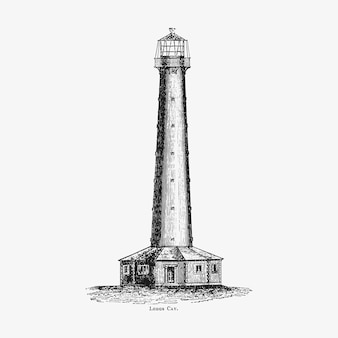 Lighthouse vintage drawing