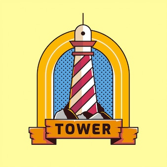 Lighthouse vintage logo outline old