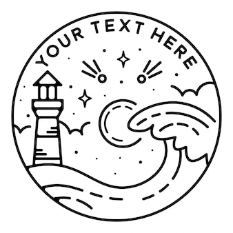 Lighthouse in the wave monoline badge design