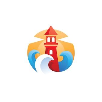 Lighthouse wave sea illustration