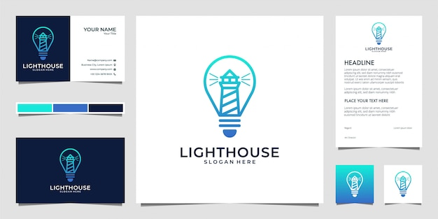 Lighthouse with bulb, lamp line art logo design and business card