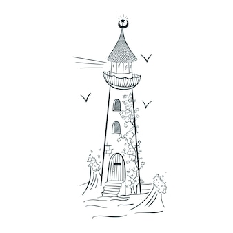 Маяк с линиями стиля гравировки плюща. ручной обращается волшебный маяк изолированные векторные иллюстрации для логотипа, татуировки, эмблемы, наклейки, плаката, футболки, шаблона, печати, текстиля