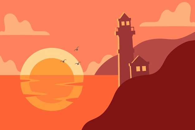 Lighthouse with the landscape background in silhouette premium vector suitable for multiple purpose