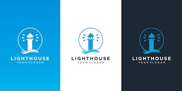 海の波のロゴデザインの灯台