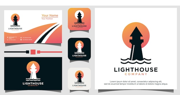 Lighthouse with sun or moon logo vector